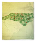 North Carolina Map Square Cities Straight Pin Vintage Fleece Blanket