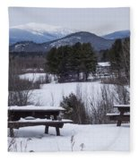 North Conway Winter Mountains Fleece Blanket