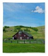 North Dakota Barn Fleece Blanket