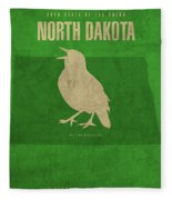 North Dakota State Facts Minimalist Movie Poster Art Fleece Blanket