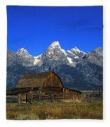 North Moulton Barn Grand Tetons Fleece Blanket