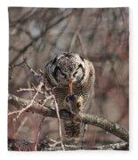 Northern Hawk Owl Having Lunch 9416 Fleece Blanket