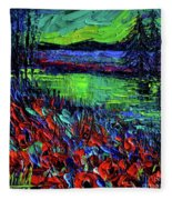 Northern Lights Embracing Poppies Fleece Blanket