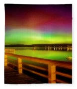 Northern Lights Over Okanagan Lake Canada Fleece Blanket