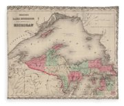 Northern Michigan And Lake Superior Fleece Blanket