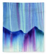 Northern Mountain Lights Fleece Blanket