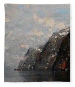 Norwegian Fjord Landscape Fleece Blanket