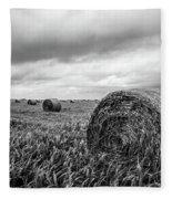 Nostalgia - Hay Bales In Field In Black And White Fleece Blanket