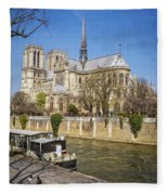 Notre Dame And The Seine Fleece Blanket