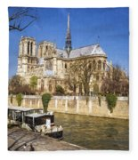 Notre Dame And The Seine Painterly Fleece Blanket