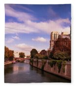 Notre Dame Cathedral And The River Seine - Paris Fleece Blanket by Barry O Carroll