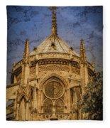 Paris, France - Notre-dame De Paris - Apse Fleece Blanket