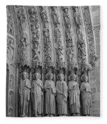 Notre Dame Doorway Detail Paris France Fleece Blanket
