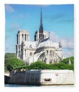 Notre Dame Over Water Fleece Blanket