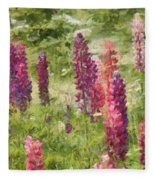 Nova Scotia Lupine Flowers Fleece Blanket