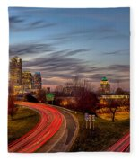 November Sun Setting Over Charlotte North Carolina Skyline Fleece Blanket