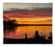 November Sunset Manasquan Reservoir Nj Fleece Blanket