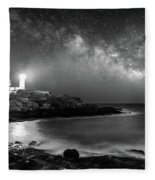 Nubble At Night Fleece Blanket