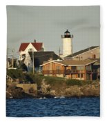 Nubble Light House Beach View Fleece Blanket