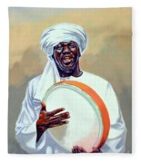 Nubian Musician Player Playing Duff Fleece Blanket