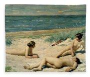Nude Bathers On The Beach Fleece Blanket