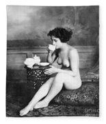 Nude Drinking Tea, 19th Ct Fleece Blanket