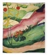 Nude Lying In The Flowers 1910 Fleece Blanket