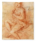 Nude Seated Woman Playing A Lute Fleece Blanket