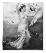 Nude With Butterflies Fleece Blanket