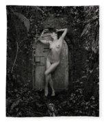Nude Woman And Doorway Fleece Blanket
