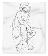 Nude_male_drawing_29 Fleece Blanket