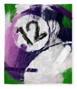 Number Twelve Billiards Ball Abstract Fleece Blanket
