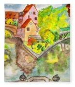 Nuremberg, Hand Drawn Picture Fleece Blanket