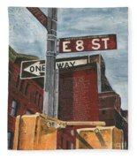 Nyc 8th Street Fleece Blanket by Debbie DeWitt