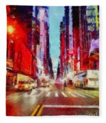 Nyc Fifth Ave Fleece Blanket