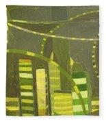 Nyc In Deep Green Fleece Blanket