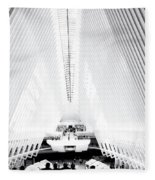 Nyc- Inside The Oculus In Black And White Fleece Blanket