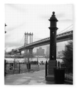 Nyc Manhattan Bridge Bw Fleece Blanket
