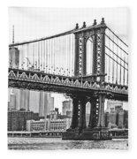Nyc Manhattan Bridge In Black And White Fleece Blanket