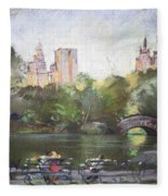 Nyc Resting In Central Park Fleece Blanket