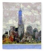 Nyc Skyline Digital Painting  Fleece Blanket