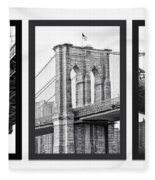 Nyc Three Bridges-east River Fleece Blanket