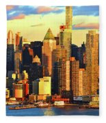 Nyc West Side In Gold And Blue  Fleece Blanket