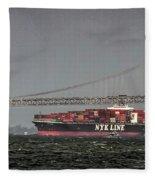 Nyl Line Container Ship By Bay Bridge In San Francisco, California Fleece Blanket