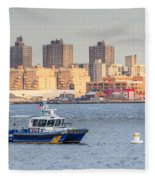 Nypd Patrol Boat In East River Fleece Blanket