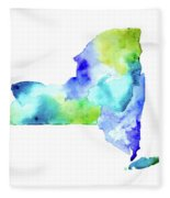 New York State In Blue And Green Fleece Blanket