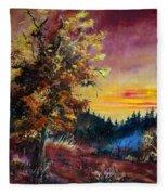 Oak At Sunset Fleece Blanket
