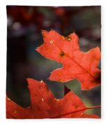 Oak Leaves Aglow Fleece Blanket