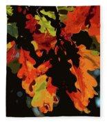 Oak Leaves In Autumn Fleece Blanket