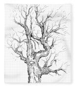 Oak Tree Abstract Study Fleece Blanket